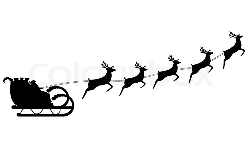 800x480 Santa Claus Rides In A Sleigh In Harness On The Reindeer Stock
