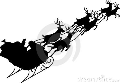 400x276 Sleigh And Reindeer Silhouette