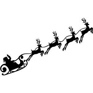 300x300 Christmas Santa Reindeer Sleigh Silhouette Design, Silhouettes
