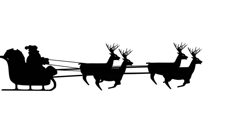 852x480 Santa Claus Riding In A Sleigh With Reindeer, 8 Deers, Christmas