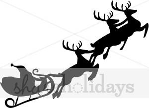 300x218 Santa And Sleigh Silhouette Santa's Sleigh Clipart