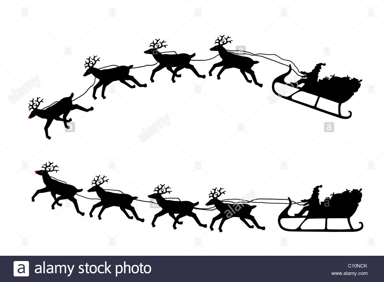 1300x956 Santa On A Sleigh With His Reindeer Stock Photo, Royalty Free