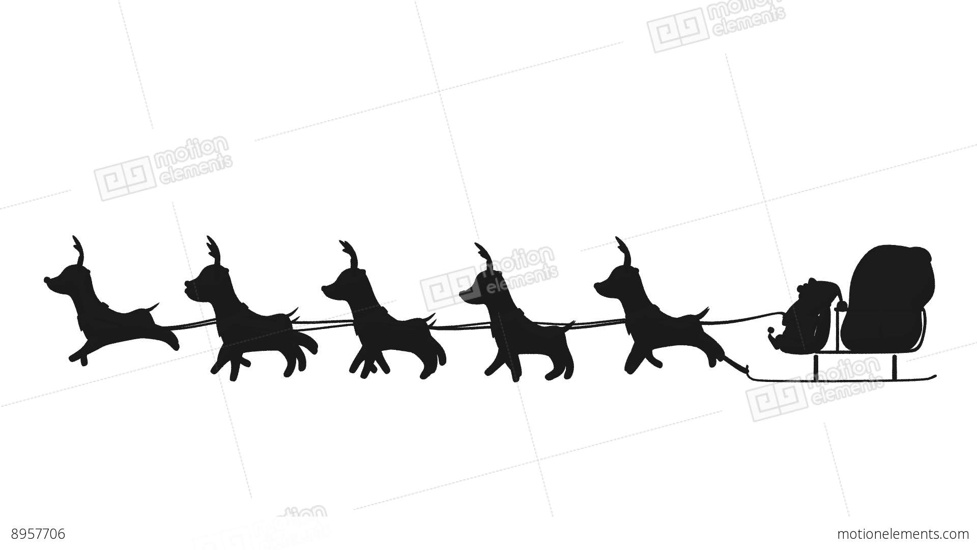 1920x1080 Flying Santa Sleigh By Reindeer Animation Design Element