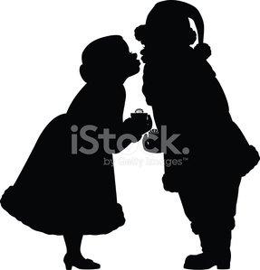 287x299 Santa And Mrs Claus Silhouettes Premium Clipart