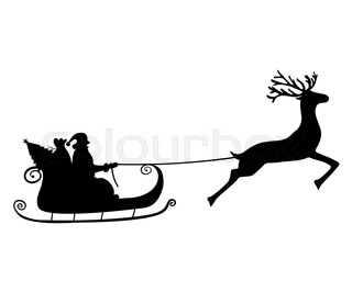 320x266 Santa Claus Rides In A Sleigh In Harness On The Reindeer Vector