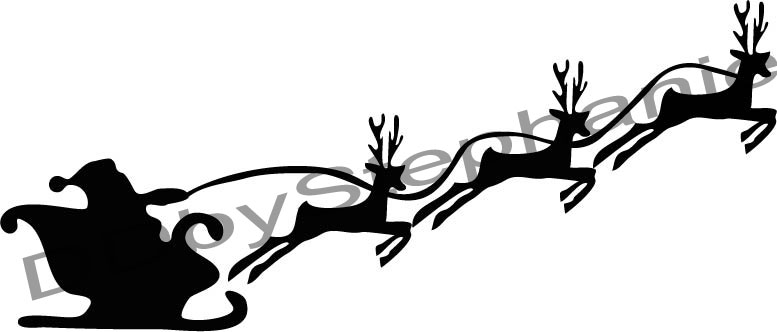 777x332 Santa Sleigh Christmas Silhouettes Template Merry Christmas