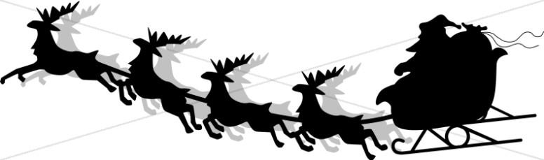 776x229 Santa And Sleigh Silhouette Religious Christmas Clipart