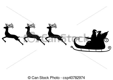 450x319 Santa Claus Rides In A Sleigh In Harness On The Reindeer Vectors