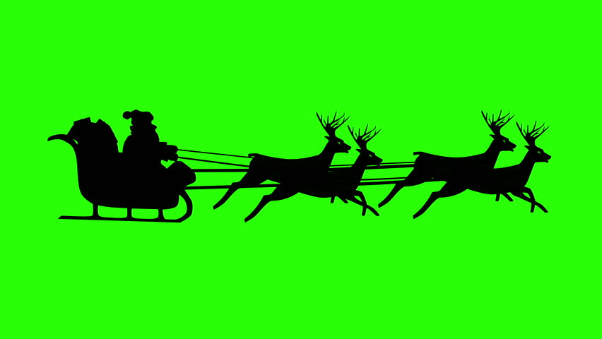 852x480 Christmas Santa Claus Flying In His Sleigh With Christmas Gifts