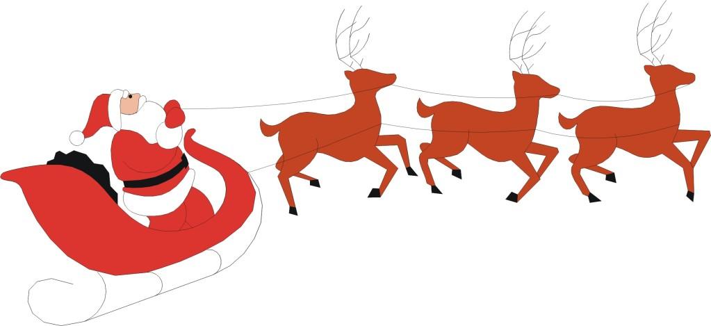 1023x469 Santa Claus Sleigh Reindeer Clipart