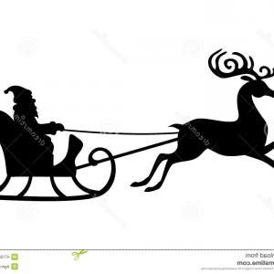 300x300 Stock Illustration Silhouette Santa Claus Riding Deer Sleigh