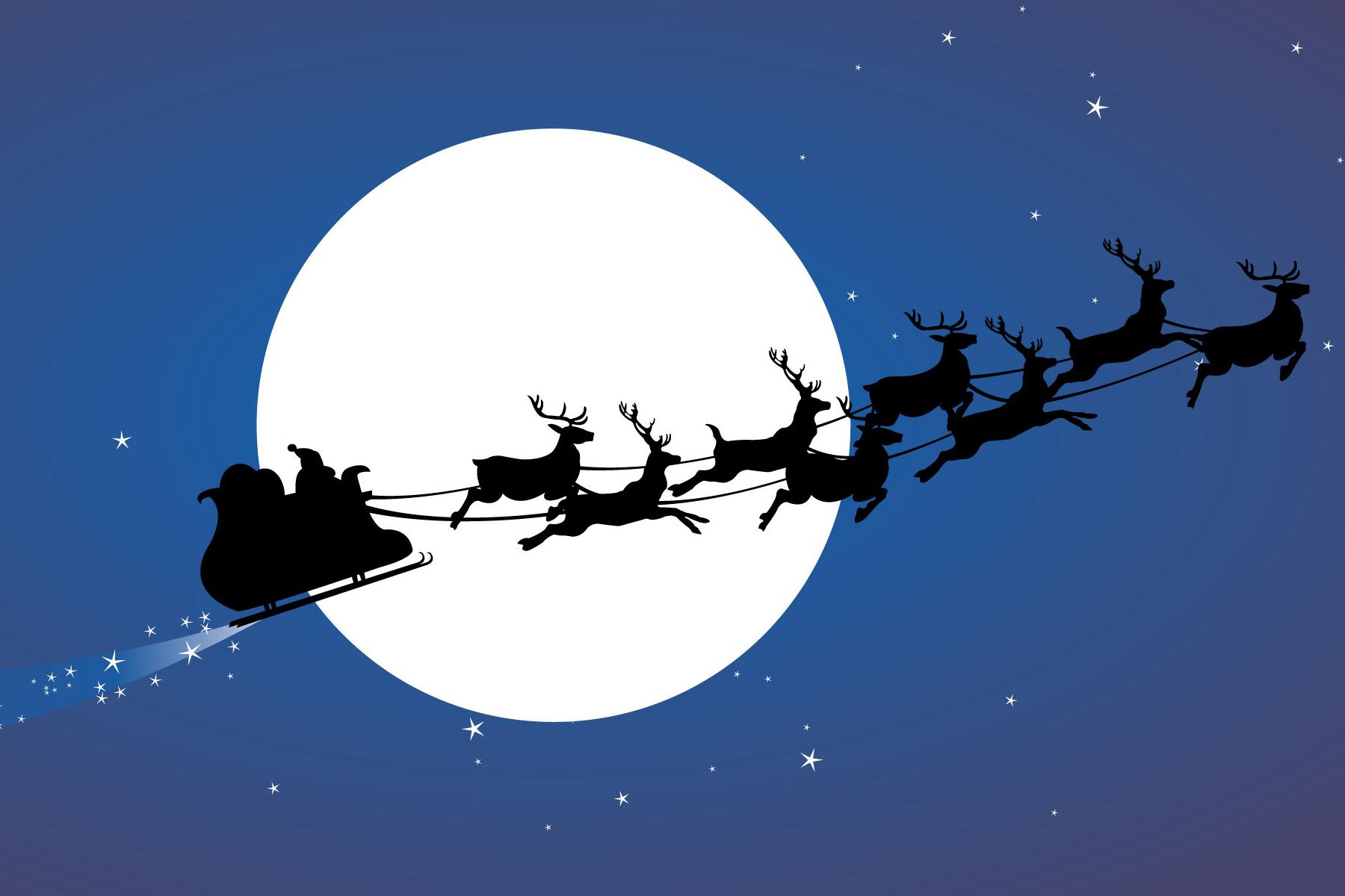 1800x1200 Santa Sleigh Silhouette
