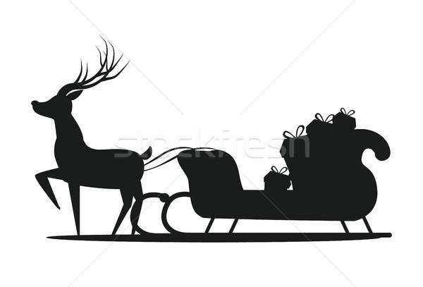 600x407 Santa Claus Sledge Silhouette Vector Illustration Vector