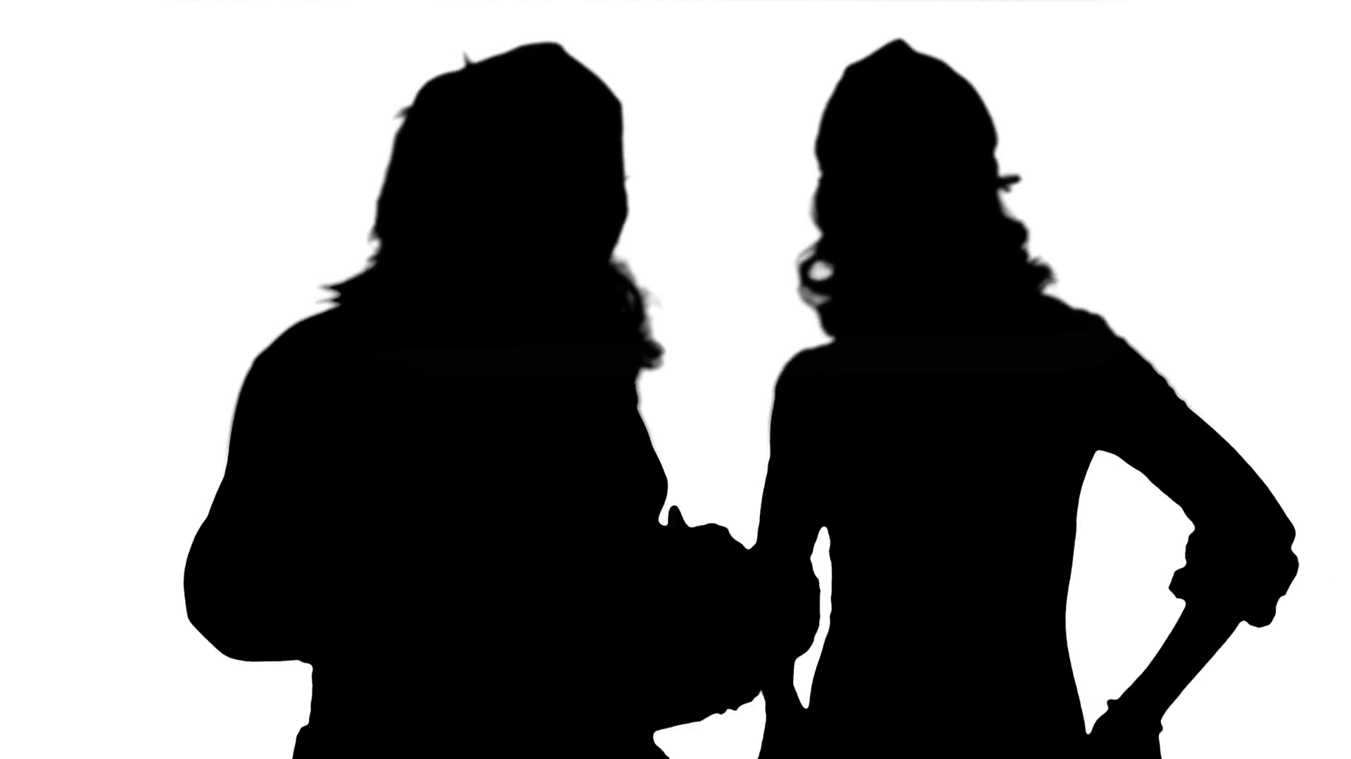 1920x1080 Silhouette Christmas Woman With Santa Claus Dancing Stock Video