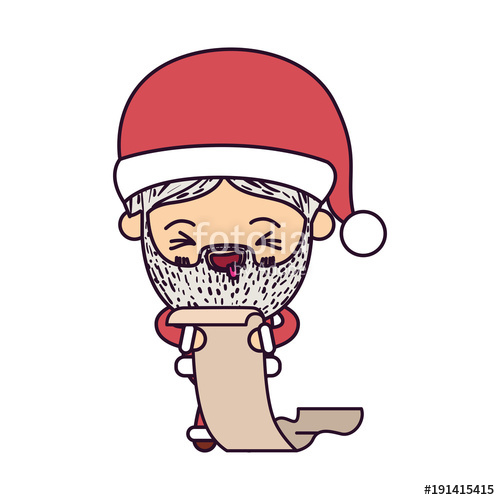500x500 Santa Claus Cartoon Holding Gift List In Paper Face Expression