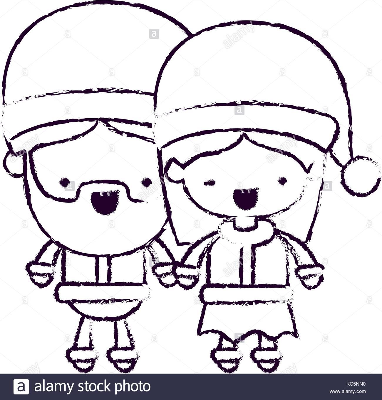 1300x1363 Santa Claus Couple Cartoon Full Body Man And Woman Smiling