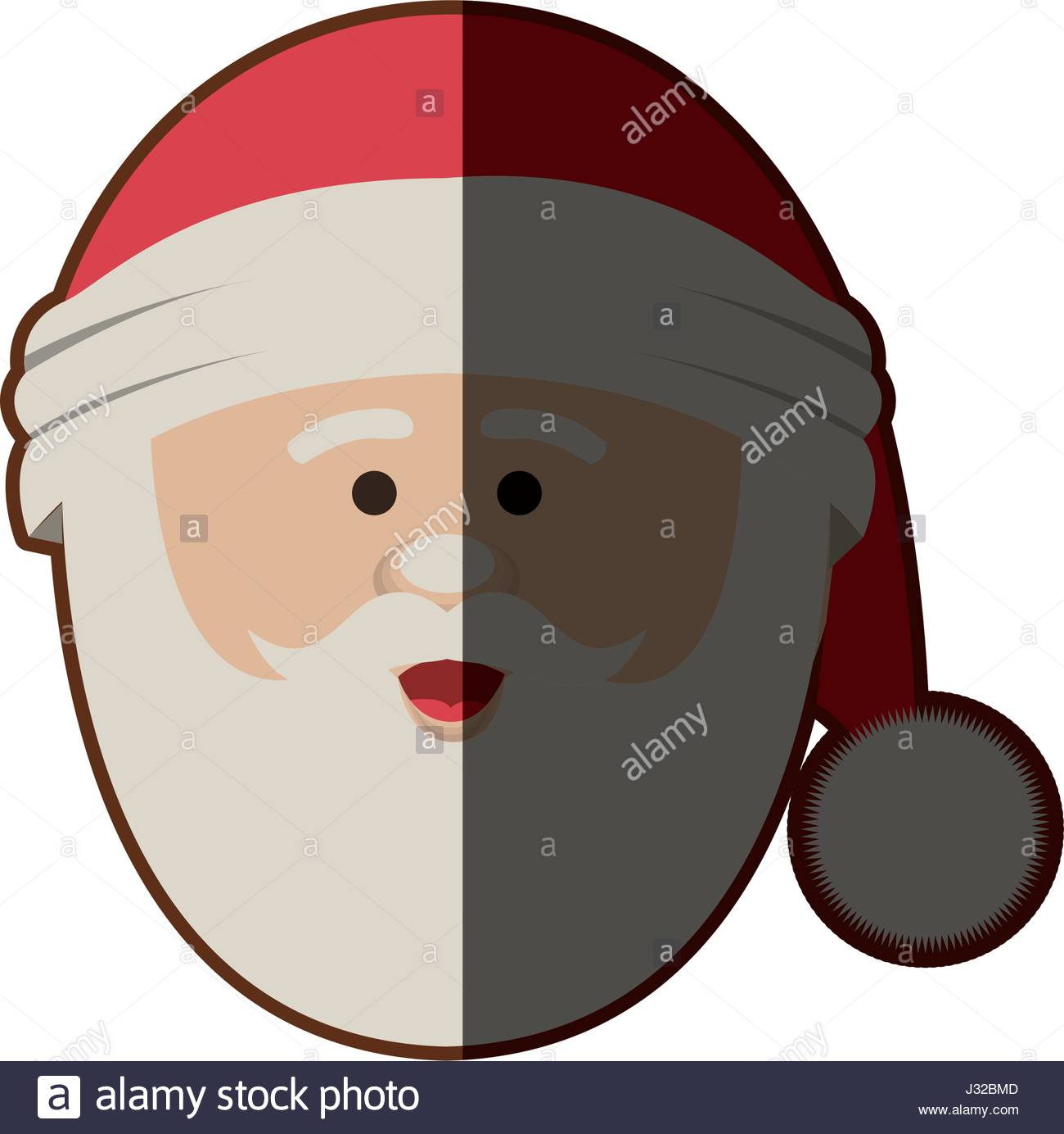 1300x1384 Silhouette Of Santa Claus Face With Christmas Hat And Half Shadow