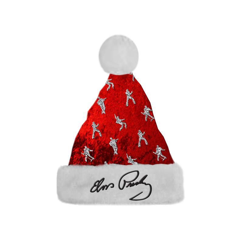 800x800 Elvis Presley Signature Silhouette Red Santa Hat