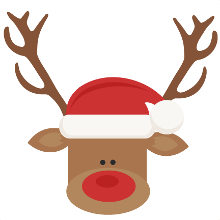 432x432 Reindeer With Santa Hat Svg Cutting Files For Scrapbooking Cute