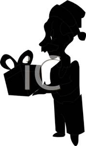 178x300 Silhouette Of A Elderly Man With A Santa Hat Holding A Christmas