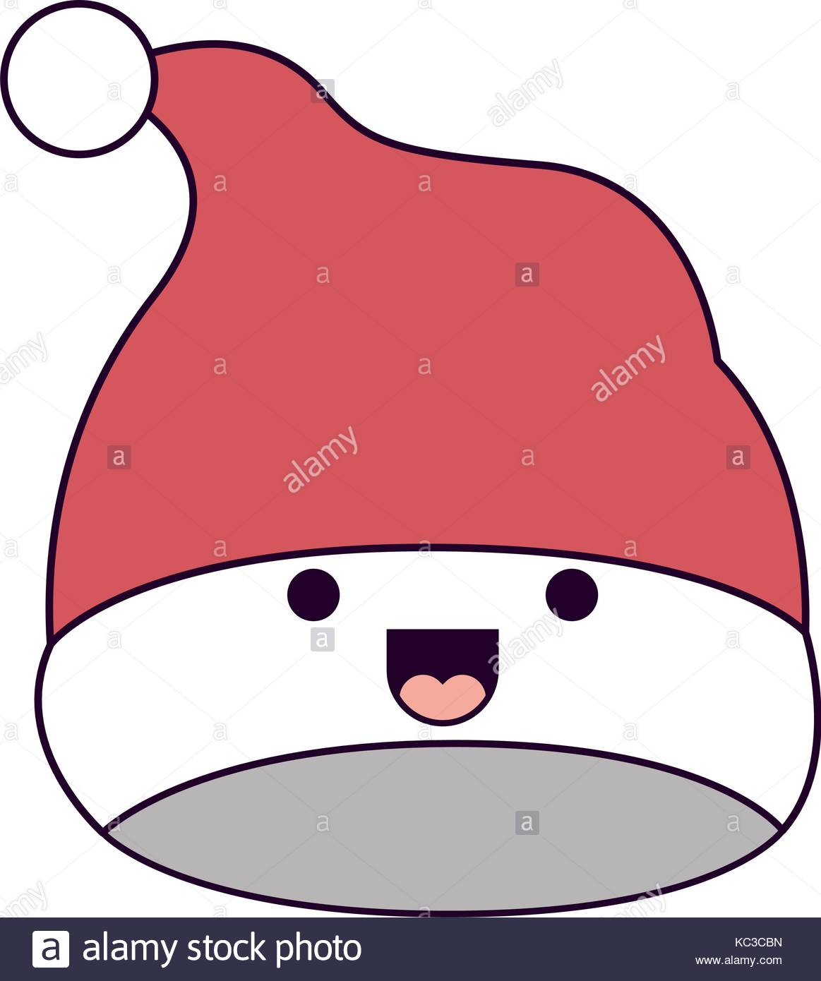 1163x1390 Kawaii Christmas Hat Santa Claus Smiling Expression On Colorful
