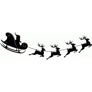 300x300 Silhouette Of Santa Claus Sitting In A Sleigh Reindeer Who Pull