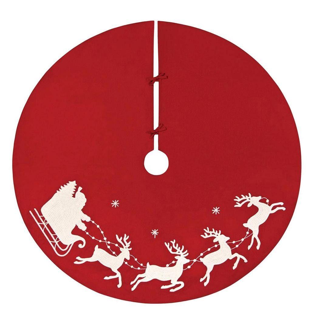 1024x1024 54 Santa Sleigh Reindeer Red Merry Christmas Tree Skirt Holiday