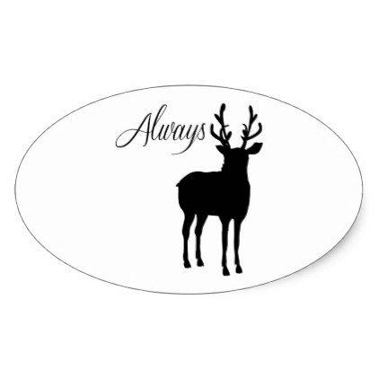 422x422 Always Winter Christmas Reindeer Quote Oval Sticker