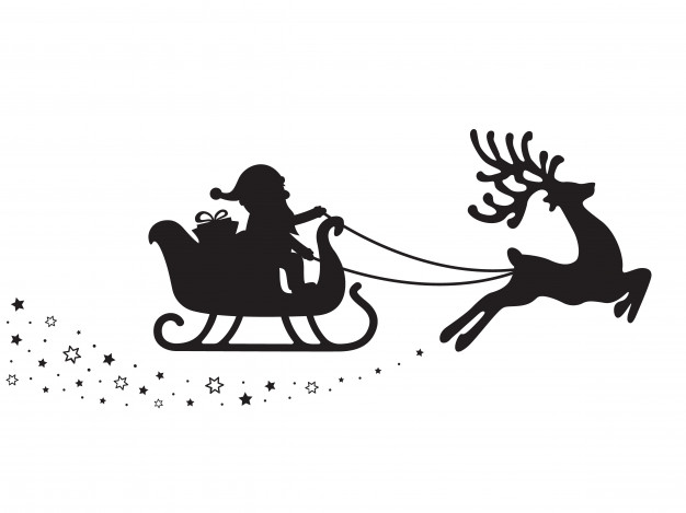 626x469 Santa Sleigh Silhouette Stars White Background Vector Premium