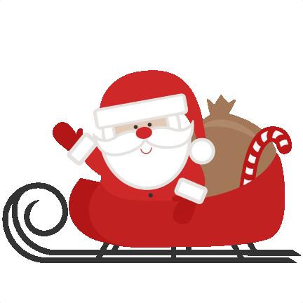 432x432 Santa In Sleigh Svg Scrapbook Cut File Cute Clipart Files