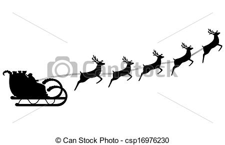 450x290 Santa Claus Rides In A Sleigh In Harness On The Reindeer Vectors