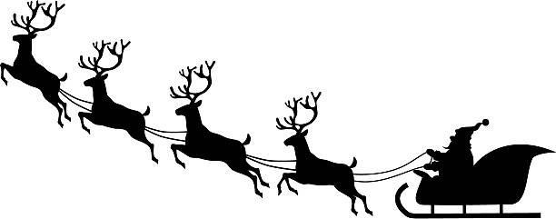 santa sleigh and reindeer silhouette at getdrawings com free for rh getdrawings com santa sleigh clipart free santa claus sleigh clipart