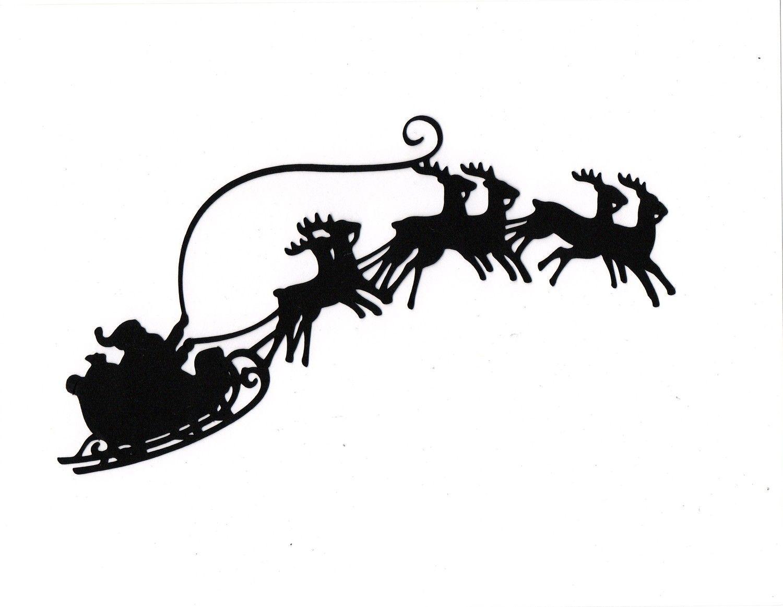1500x1162 Large Santa Sleigh Reindeer Silhouette Die Cut For Scrapbooking