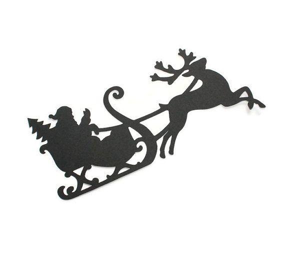 570x509 Santa Claus With Reindeer Silhouette Die Cuts