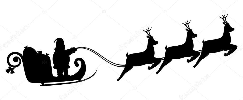 1023x423 Santa Sleigh Flying Silhouette