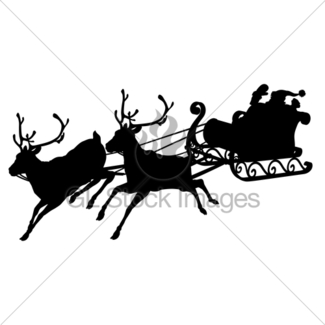 325x325 Santa Sleigh Silhouette Gl Stock Images