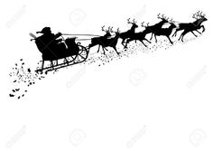 236x167 Christmas Santa Reindeer Sleigh Silhouette Design, Silhouettes