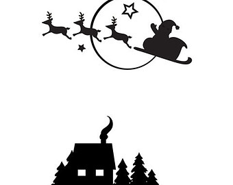 340x270 Santa Sleigh And Reindeer Silhouette Svg From Mysvghut On Etsy Studio