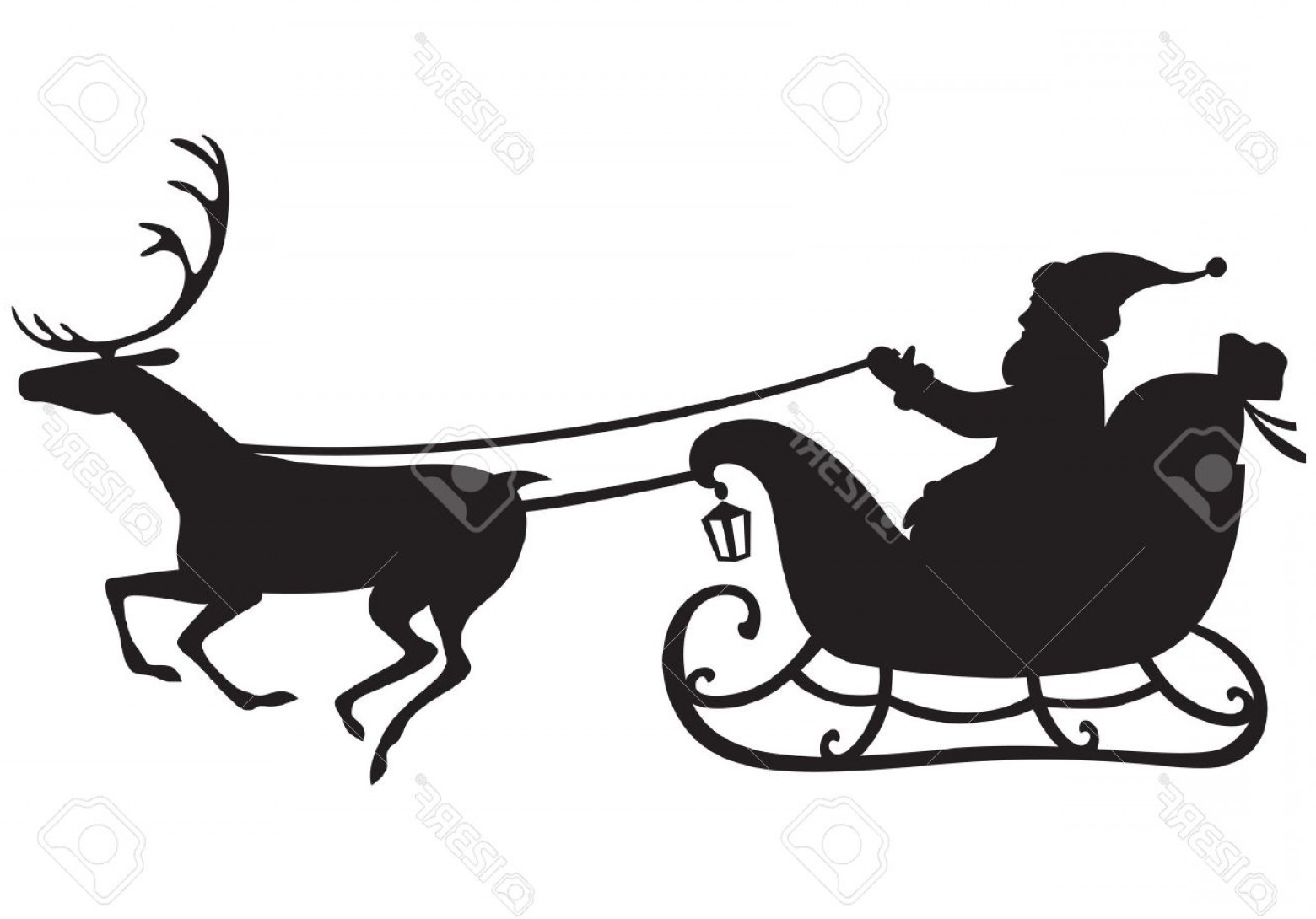 1560x1090 Photosilhouette Of Santa Claus Riding A Sleigh Pulled By Reindeer