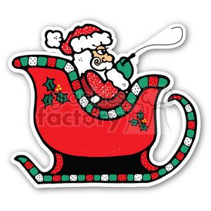 300x300 Royalty Free Santa Sleigh Sticker 400364 Vector Clip Art Image