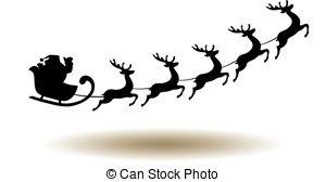 300x168 Santa Claus And Team Of Reindeer In His Sleigh Flying . Vector