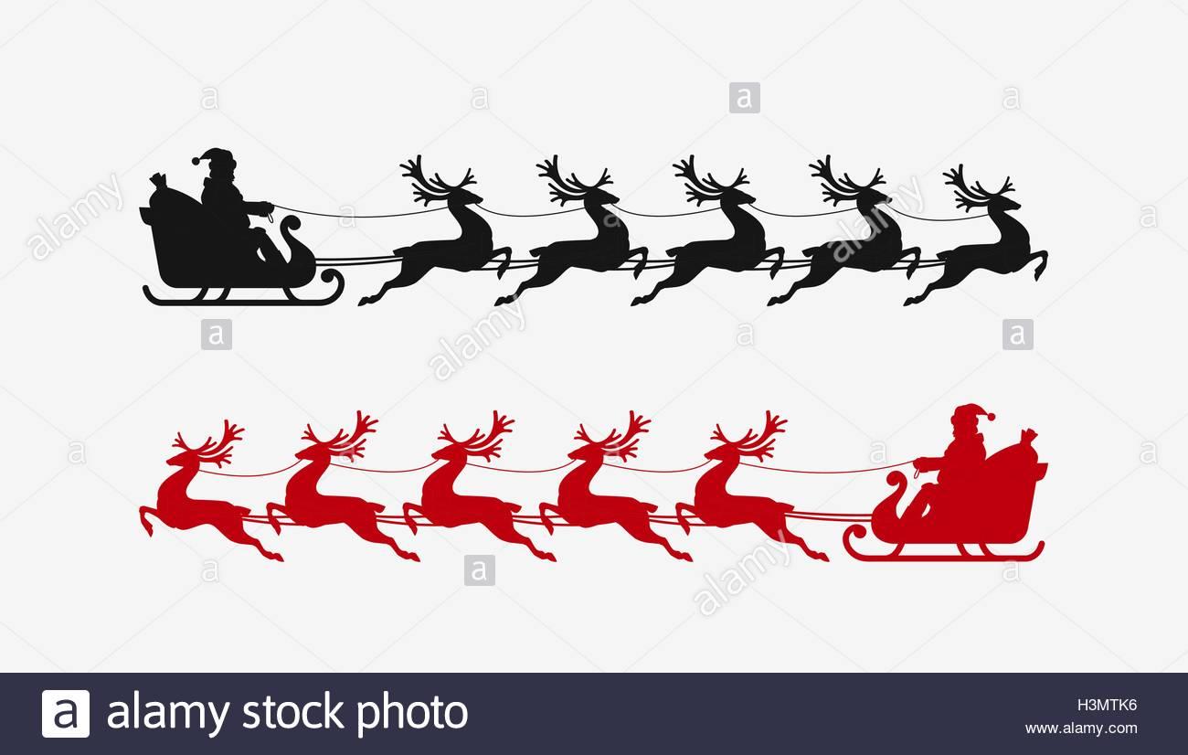 1300x826 Santa Sleigh Reindeer Silhouette. Christmas Symbol Stock Vector