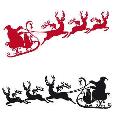380x400 Santa With Sleigh And Reindeers Vector 1037502