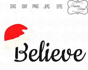 340x270 Believe Svg, Christmas Svg, Merry Christmas Clipart, Silhouette