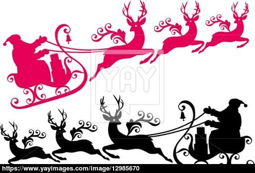 512x348 Santa With Sleigh And Reindeer, Vector Vector