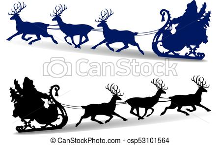 450x295 Christmas Silhouette Of Santa Claus Rides In A Sleigh On Clip