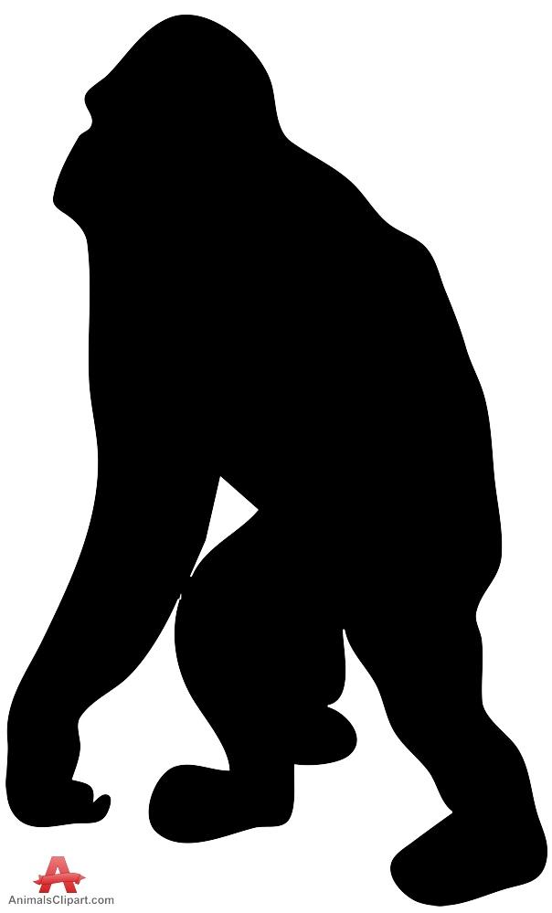 604x999 Gorilla Clipart Black And White Silhouette