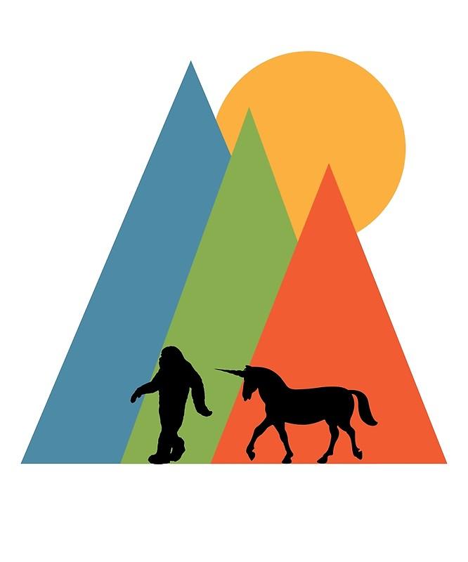 666x800 Bigfoot Yeti Sasquatch Unicorn Mountain And Sun Design Art Prints
