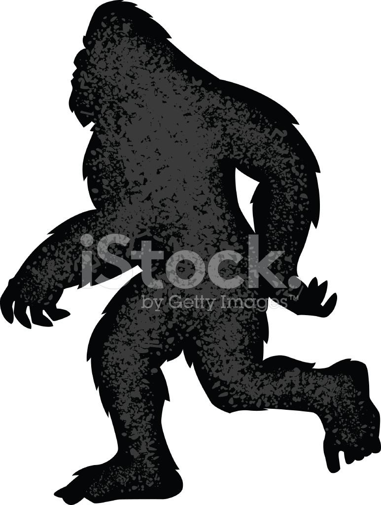 773x1024 Walking Bigfoot Silhouette Stock Vector