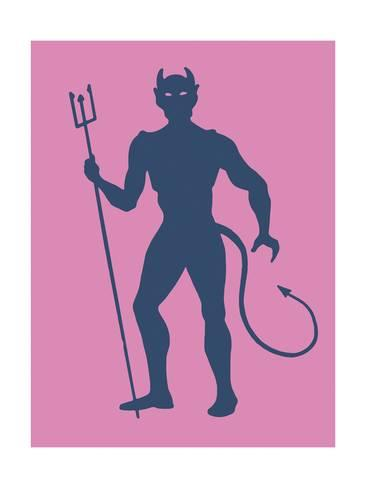 366x488 Silhouette Of Devil Holding Pitchfork Print By Pop Ink